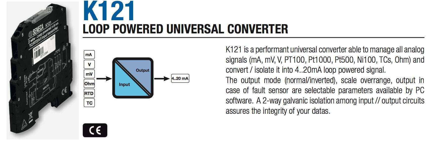 bộ chuyển đổi nhiệt độ pt100 K121 gắn din rail tủ điện