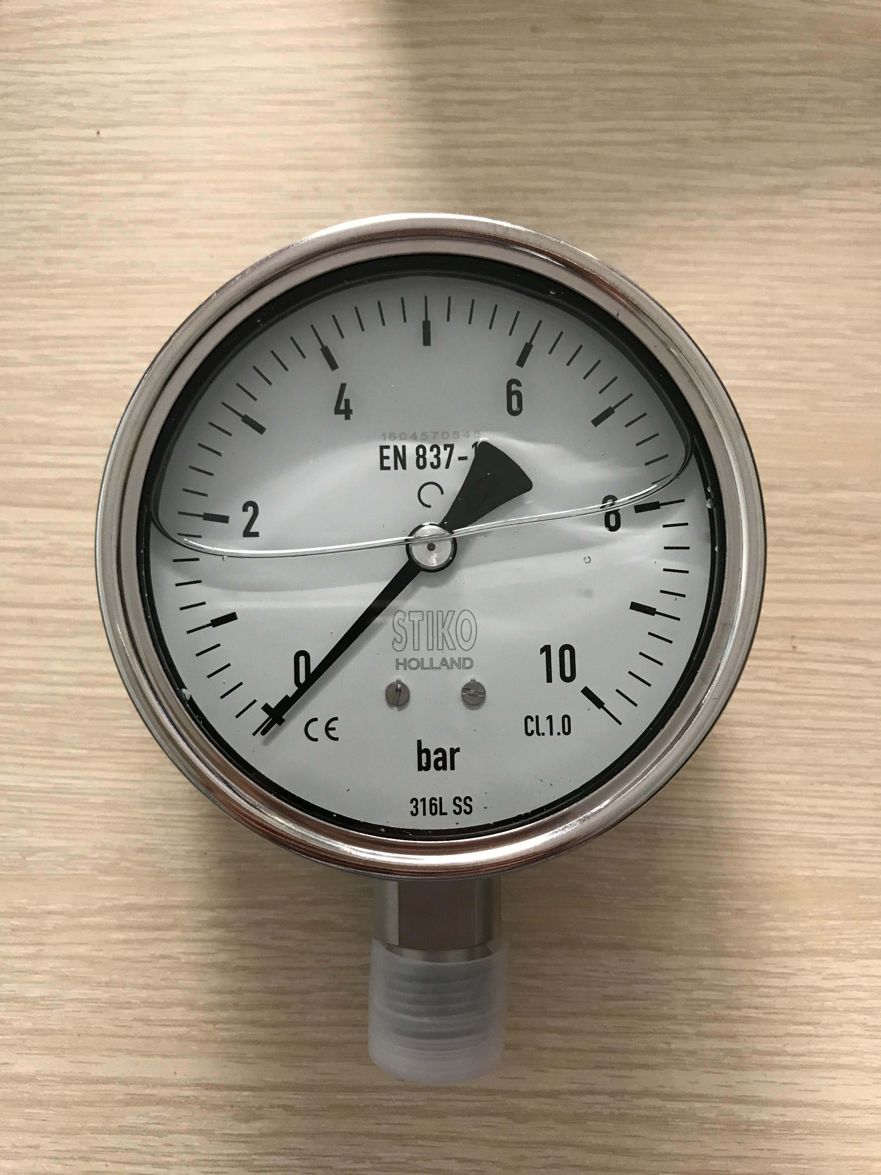 đồng hồ đo áp suất inox mặt 100mm dãy đo 0-10 bar