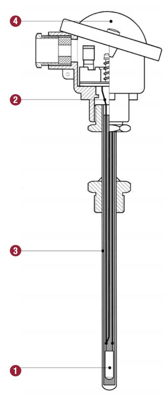 cấu tạo cảm biến nhiệt độ RTD Pt100 uốn cong