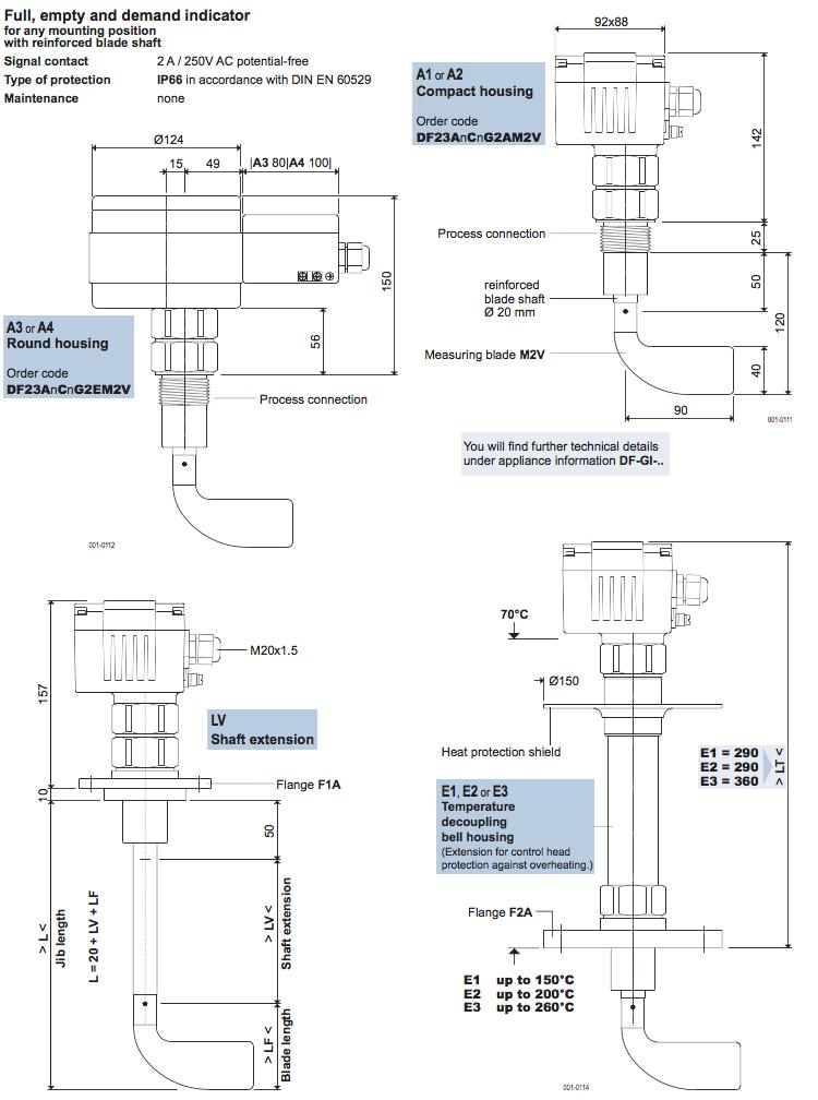 cách chọn thông số cảm biến đo mức chất rắn DF23