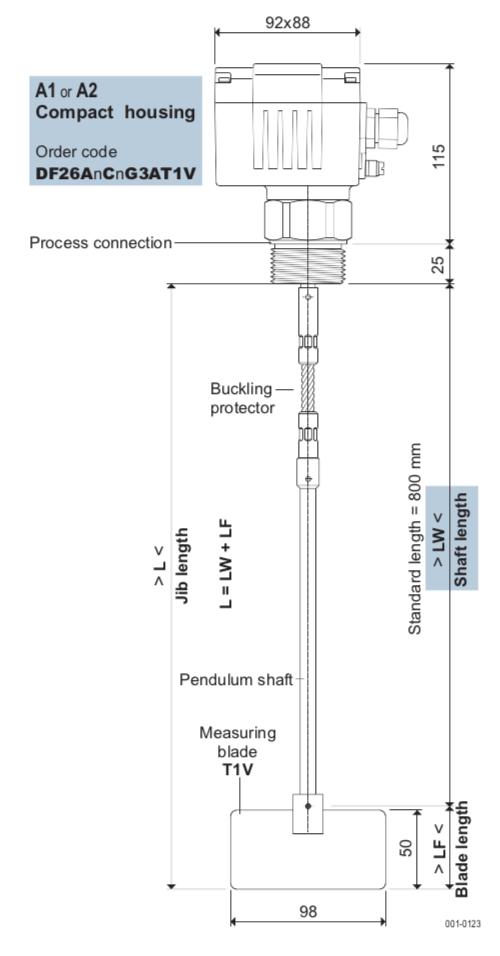 cấu tạo cảm biến báo đầy chất rắn cánh xoay DF26