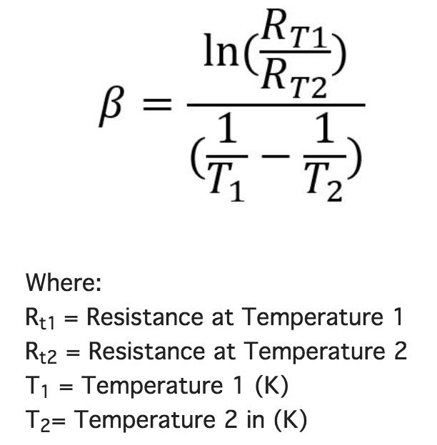 cách tính hệ số beta cảm biến nhiệt độ NTC