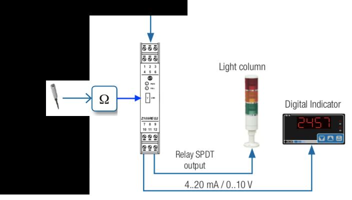 bộ chuyển đổi điện trở ra analog 4-20mA Z109REG2-1