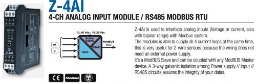 chuyển đổi tín hiệu 4 kênh analog sang modbus rs485