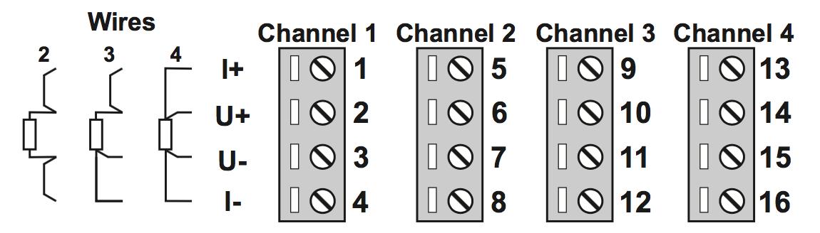 kết nối ngõ vào bộ chuyển đổi modbus Z-4RTD-2