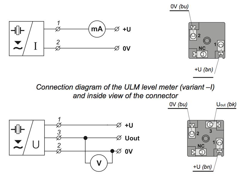 cách kết nối ngõ ra cảm biến đo mức siêu âm 0-1m
