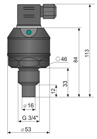 kích thướt cảm biến đo mức siêu âm 0-1m