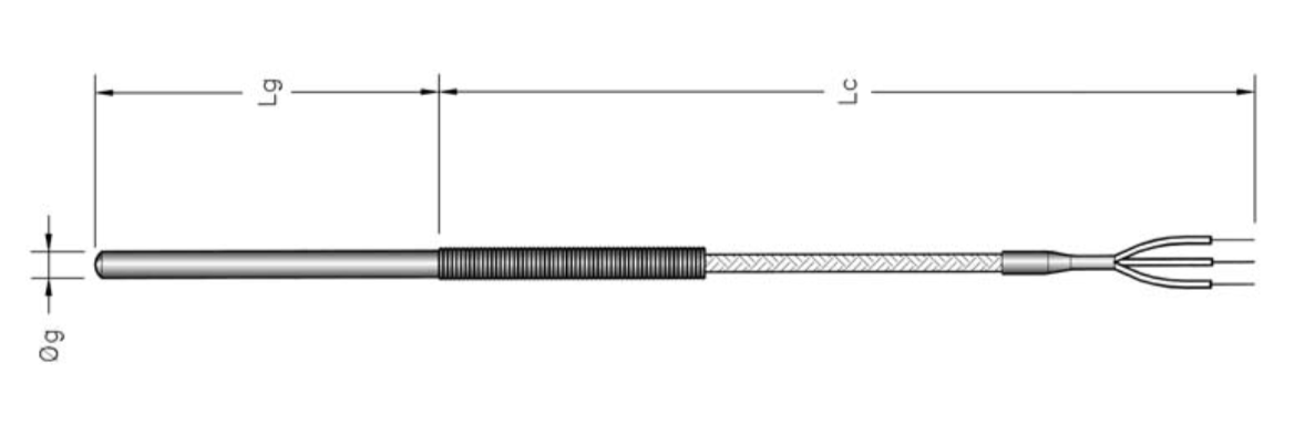 cảm biến nhiệt độ pt100 phi 6mm 3 dây