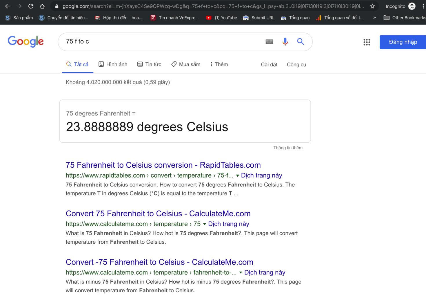 dùng google chuyển đổi độ F sang độ C