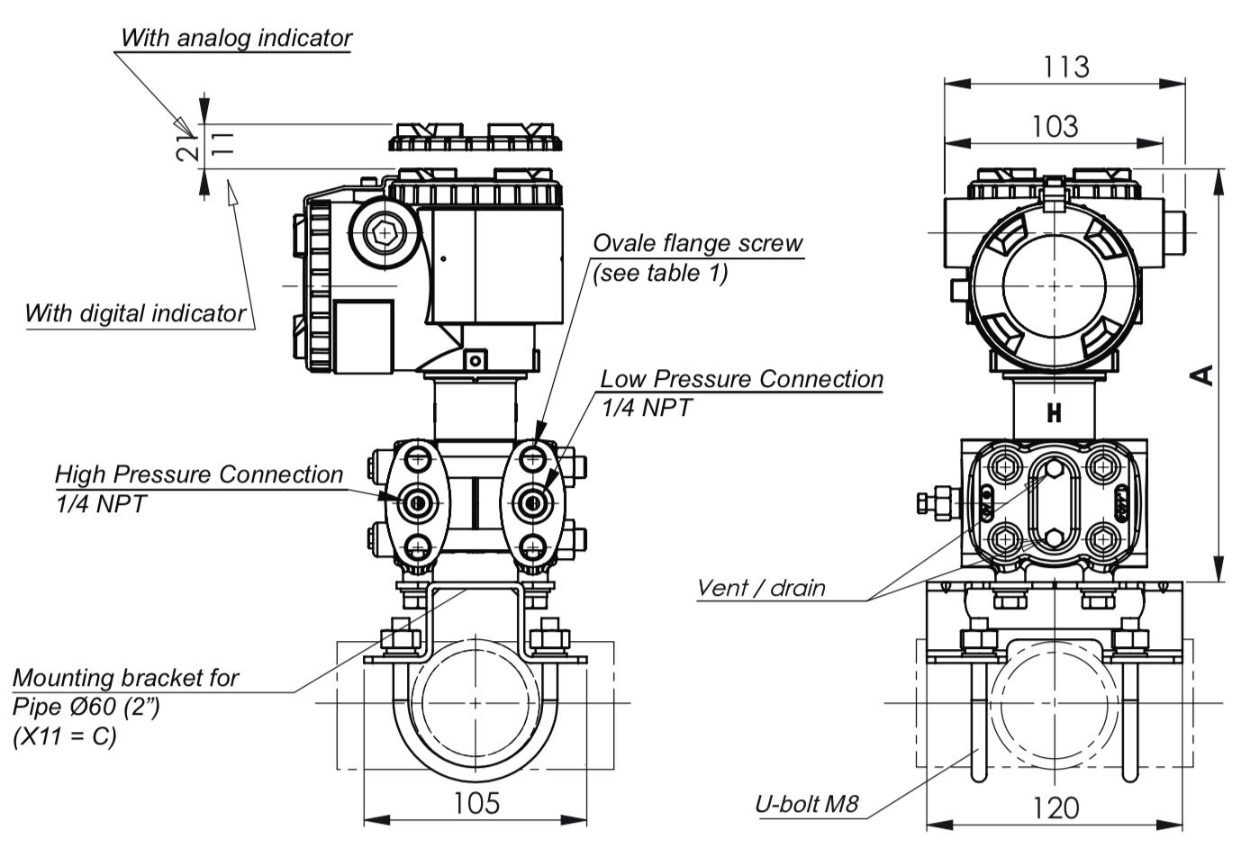 bản vẽ cảm biến chênh áp lò hơi FKC