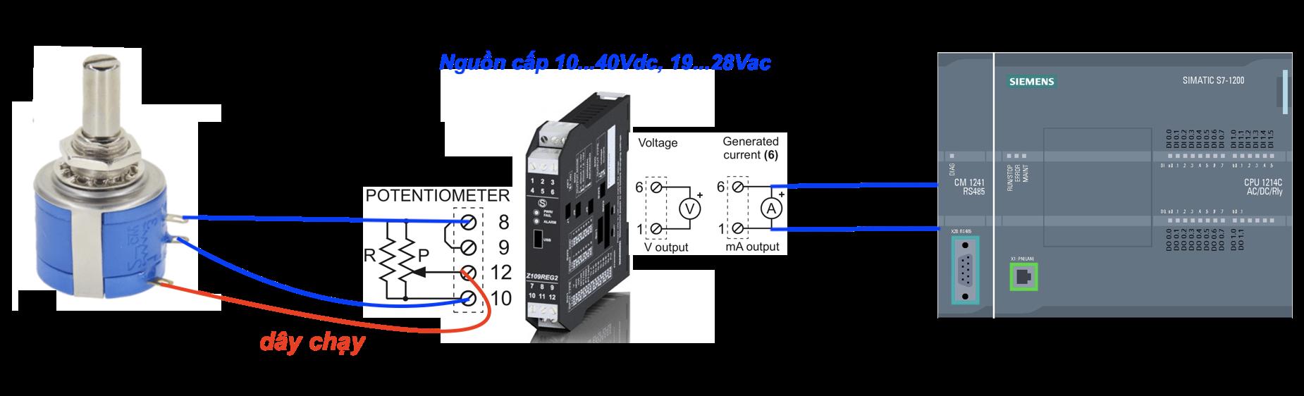 hướng dẩn kết nối biến trở với bộ chuyển đổi Z109REG2-1