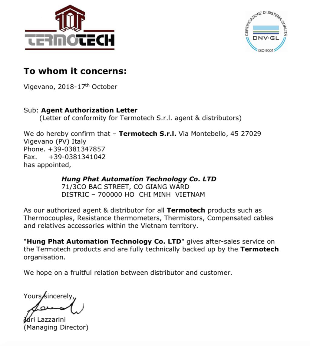 thư đại diện Termotech tại Việt Nam