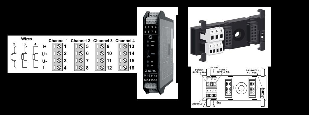 cách kết nối bộ chuyển đổi nhiệt độ sang Modbus RTU Z-4RTD2