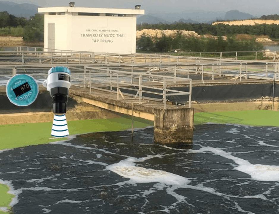 cảm biến siêu âm đo mức nước thải chưa xử lý