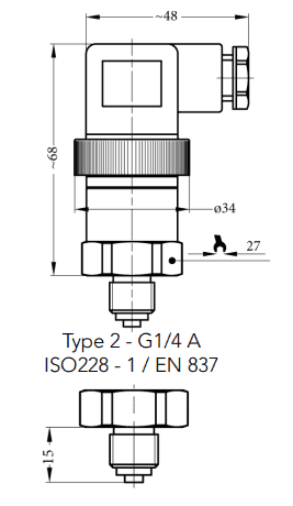 Kích thước cảm biến áp suất sr1