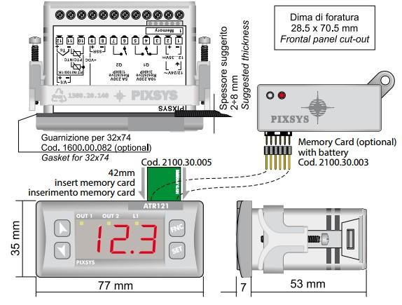 Mộ tả kích thước và cách lắp thẻ nhớ cho ATR121