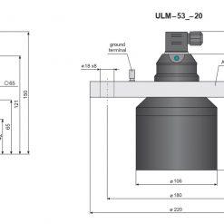 Bản vẽ cảm biến đo mức siêu âm ULM-53