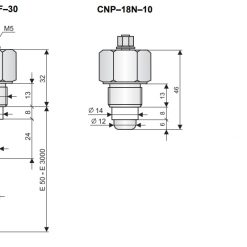 Kích thước cảm biến đo mức nước CNP-18