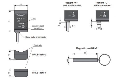 Bản vẽ cảm biến đo mức chất lỏng GPLS-25