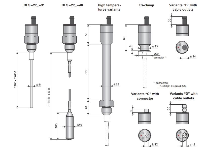 Kích thước cảm biến đo mức điện dung DLS-27