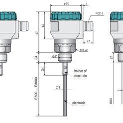 Kích thước cảm biến đo mức radar GRLM-70