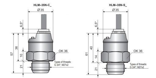 Kích thước cảm biến đo mức thuỷ tĩnh HLM-35