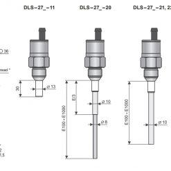 Kích thước model cảm biến đo mức điện dung dòng DLS-27