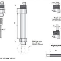Kích thước cảm biến điện dung đo mức CLS-23