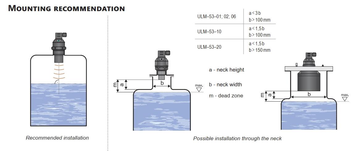 Lắp đặt cảm biến đo mức dạng siêu âm không hiển thị