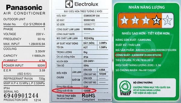 công suất tiêu thụ điện của điều hoà