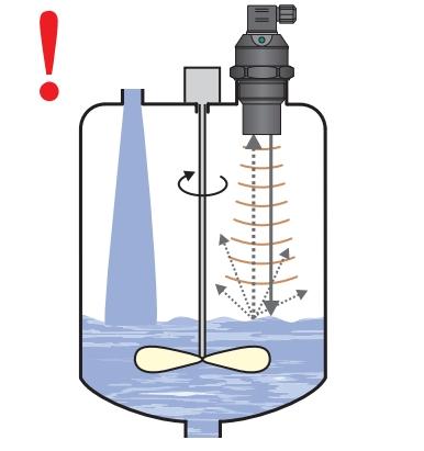 Lắp cảm biến siêu âm trong bể có cánh khuấy