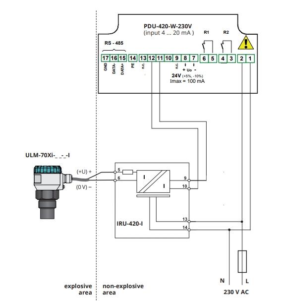 Kết nối cảm biến siêu âm đo mức chất lỏng bản chống nổ với bộ PDU