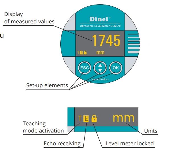 Mặt hiển thị và phím bấm của cảm biến siêu âm đo mức chất lỏng ULM-70