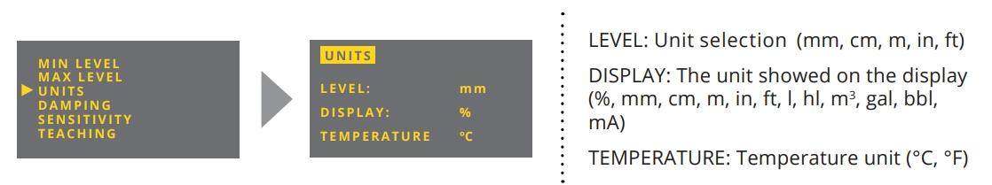 Thay đổi đơn vị trên cảm biến siêu âm đo mức chất lỏng ULM-70