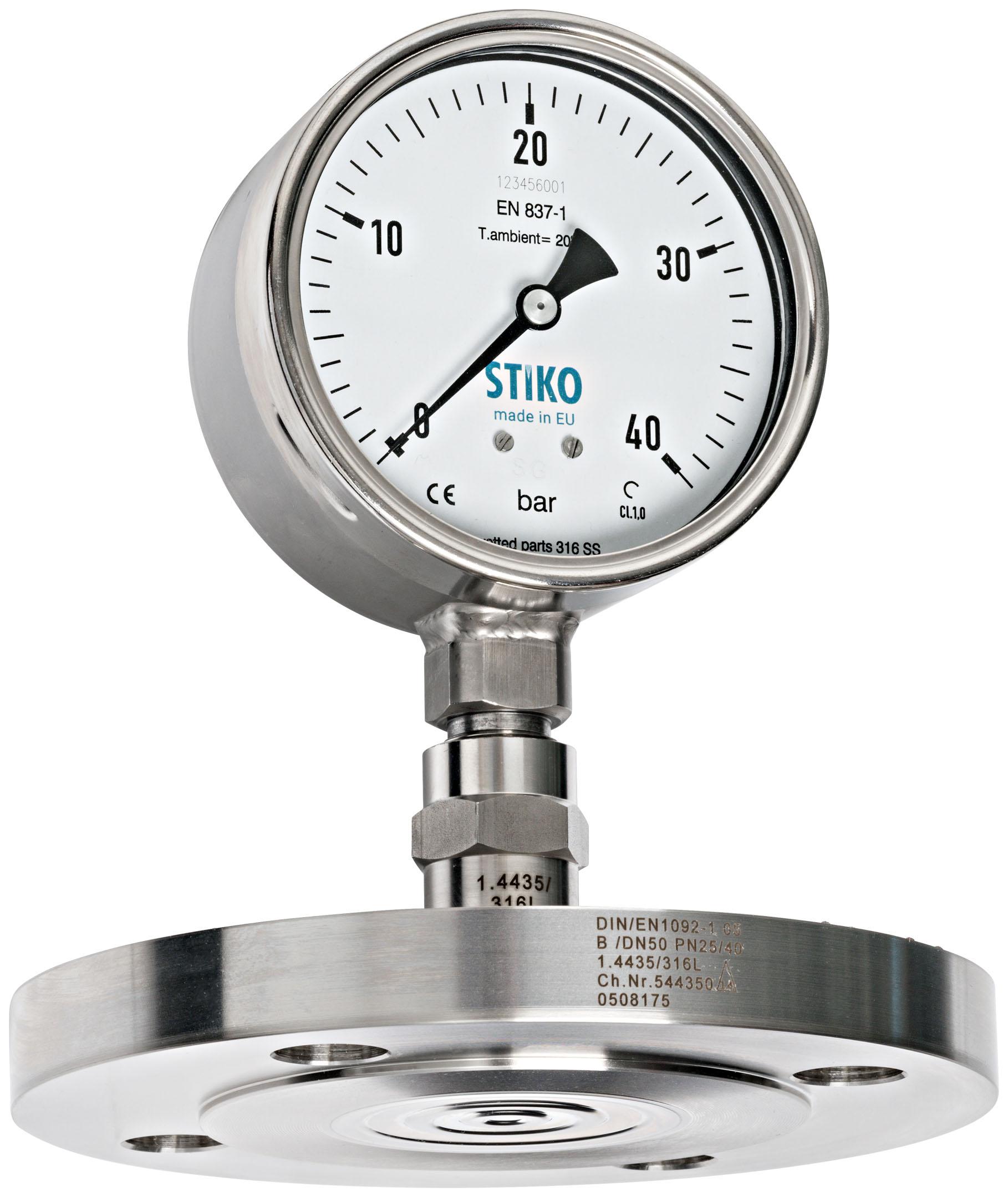 Đồng hồ đo áp suất màng loại mặt bích