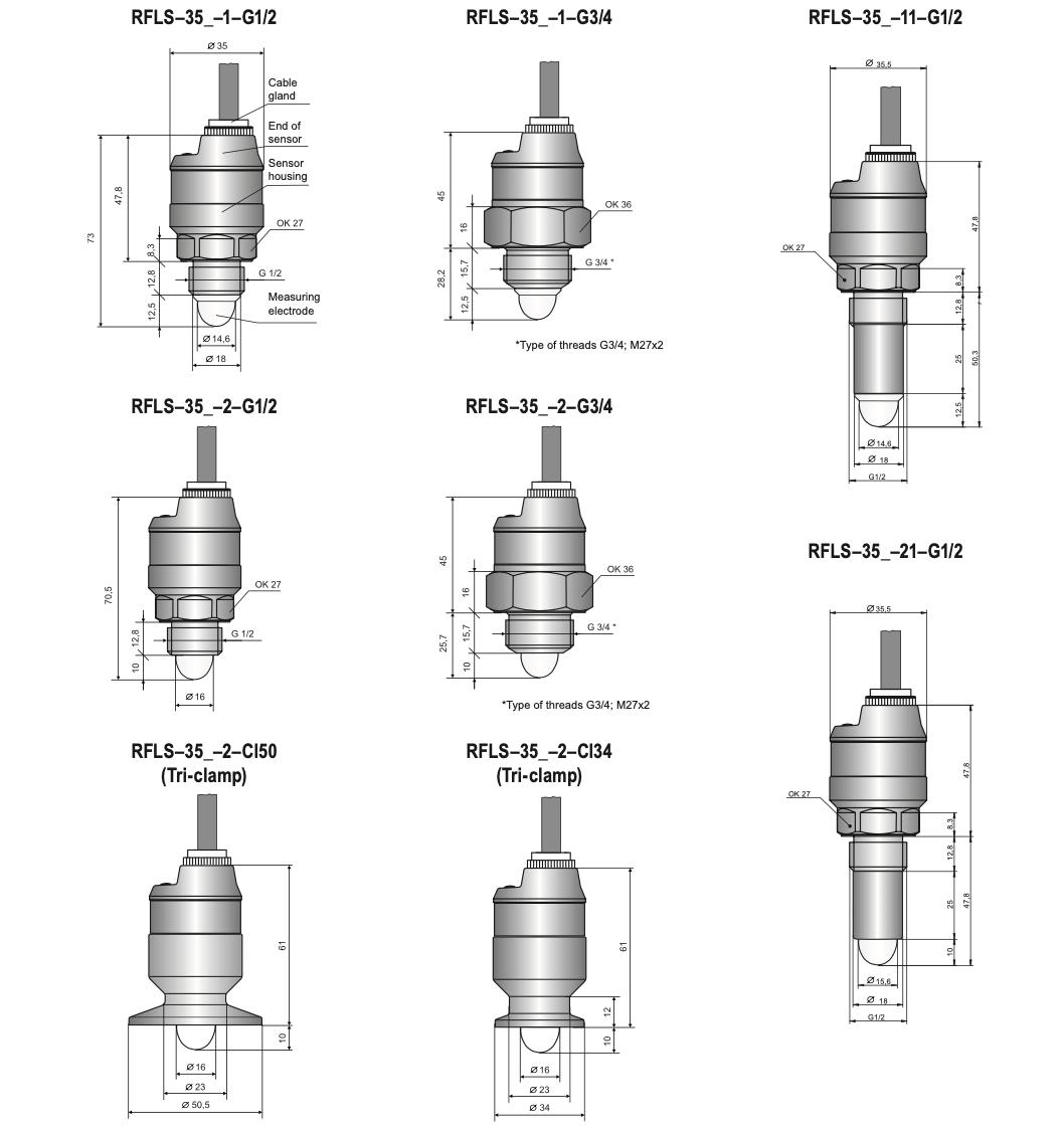 Thông số kỹ thuật cảm biến báo mức RFLS-35N