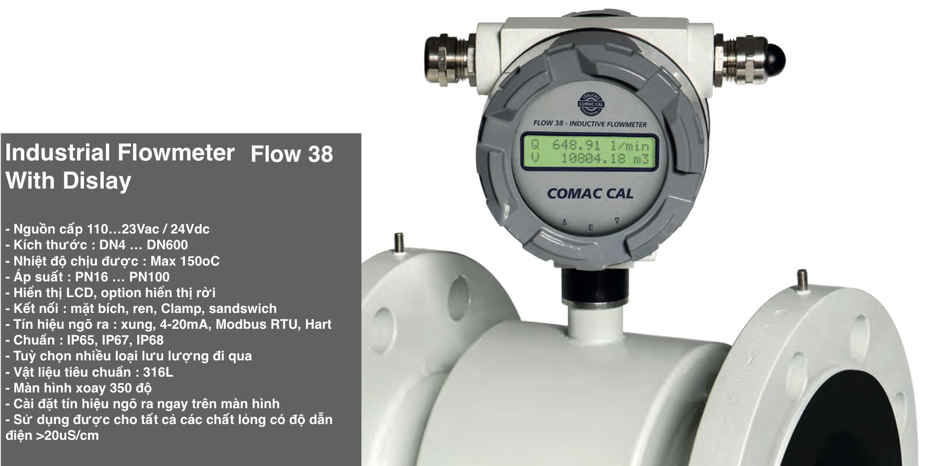 Đồng hồ đo lưu lượng nước nóng | Flow 38 - Comac Cal