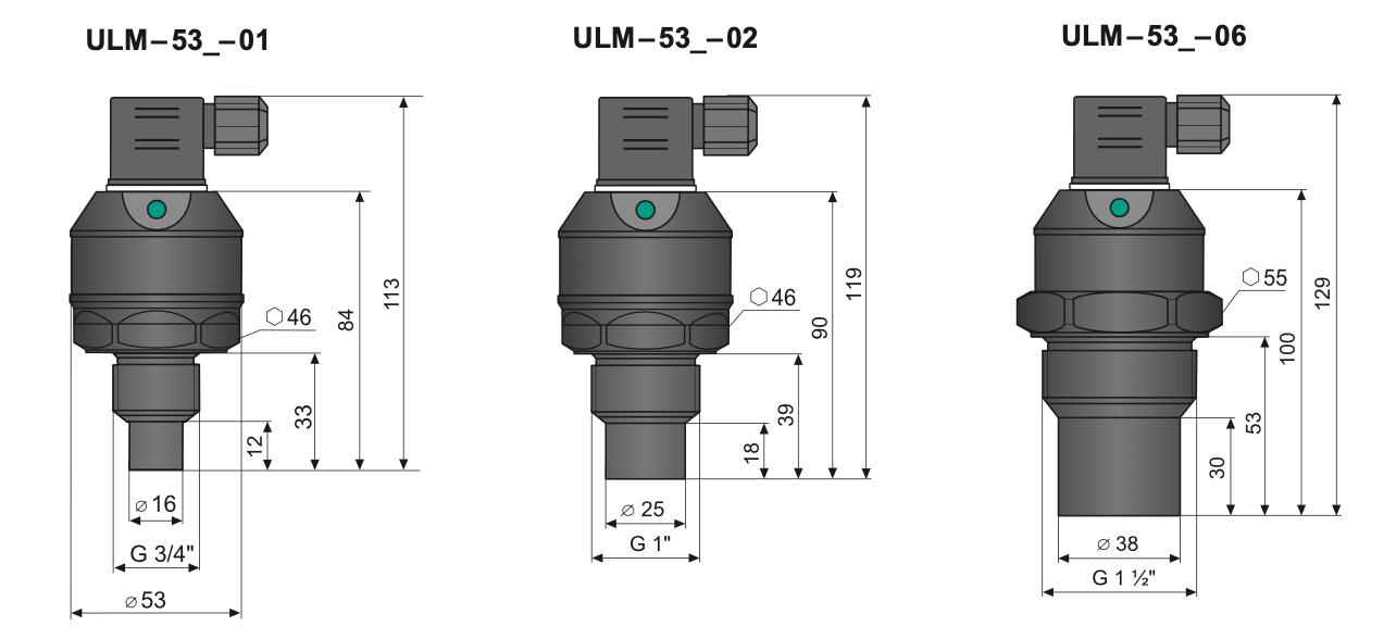 Kích thước cảm biến siêu âm ULM-53N