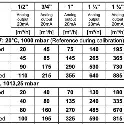 Bảng tra lưu lượng đồng hồ đo Gas VA570