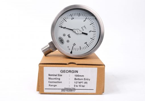 Đồng hồ đo áp suất 0-10 bar, case 100mm, 1/2 NPT